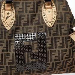 Fendi Brown/Black Zucca Canvas,Suede and Patent Leather Large Studded De Jour Bag