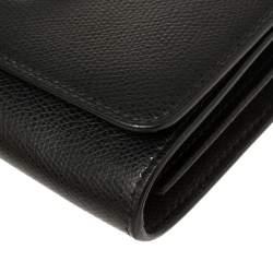 Fendi Black Leather Kan I F Wallet On Chain Clutch