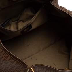 Fendi Brown Zucchino Coated Canvas and Leather Chiusura Tote