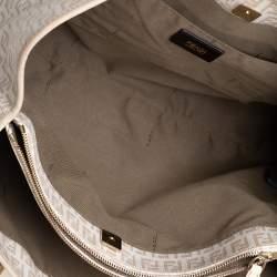 Fendi Light Beige Zuccachino Coated Canvas and Leather Trim Shopper Tote