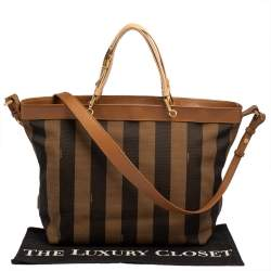 Fendi Tobacco Pequin Striped Canvas and Leather Large Tote