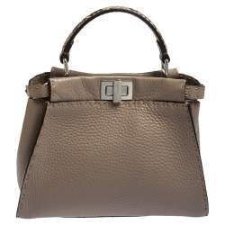 Fendi Beige Leather and Python Mini Peekaboo Top Handle Bag