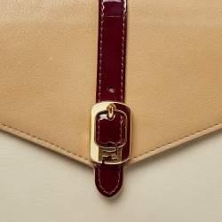 Fendi Tricolor Leather and Patent Leather Trim Fendista Envelope Clutch