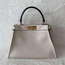 Fendi White Leather Peekaboo Iconic Medium Bag