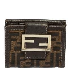 Fendi Tobacco Zucca Canvas and Leather Compact Wallet