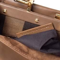 Fendi Brown Leather Medium Peekaboo Top Handle Bag