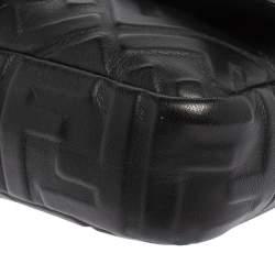 Fendi Black Zucca Embossed Leather Medium Baguette Bag