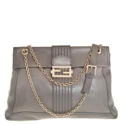 Fendi Grey Leather Maxi Baguette Flap Shoulder Bag