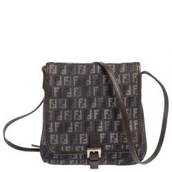 Fendi Blue/Black Zucchino Denim and Leather Flap Crossbody Bag
