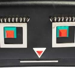 Fendi Black Leather Hypnoteyes Wallet on Chain