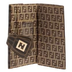 Fendi Tobacco Zucchino Coated Canvas Spalmati Continental Wallet