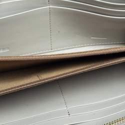 Fendi Metallic Silver Leather Zip Around Wallet