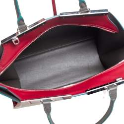 Fendi Grey/Red Leather 3Jours Large Tote Bag