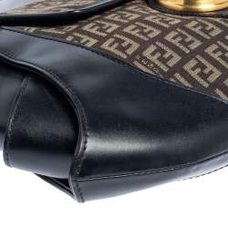 Fendi Black/Tobacco Zucchino Canvas and Leather Borsa Tuc Hobo