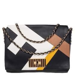 Fendi Black Leather Claudia Chain Shoulder Bag