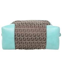 Fendi Brown/Turquoise Zucchino Canvas And Leather Satchel