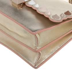 Fendi Gold Leather Small Kan I Scalloped Shoulder Bag