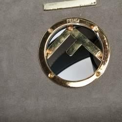 Fendi Two Tone Leather Kan I F Logo Shoulder Bag