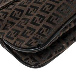 Fendi Black Zucca Canvas and Leather Trim Baguette Bag