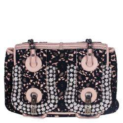 Fendi Black/Pink Lace and Leather Limited Edition B. Bag