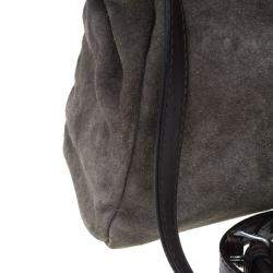 Fendi Grey Suede Medium Peekaboo Top Handle Bag