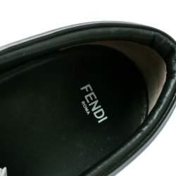 Fendi Black Leather Fflynn Shearling Fur Slip On Sneakers Size 40