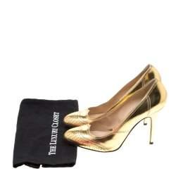 Fendi Metallic Gold Leather Wing Tip Pumps Size 41