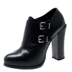 Fendi Indigo Blue Leather Ankle Booties Size 38