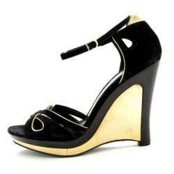 Fendi Black Metallic Suede Wedge Sandals Size 38.5