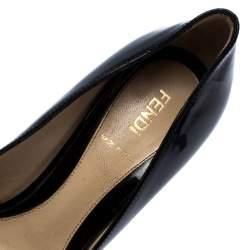 Fendi Black Patent Leather Bow Peep Toe Pumps Size 36