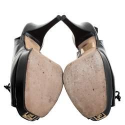 Fendi Black Leather Bow Peep Toe Slingback Platform Sandals Size 39