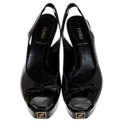 Fendi Black Patent Fendista Slingback Platform Sandals Size 37.5