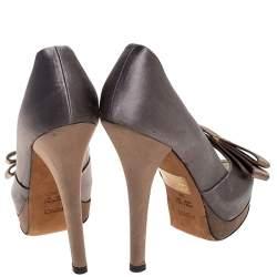Fendi Two Tone Satin Bow Peep Toe Platform Pumps Size 39