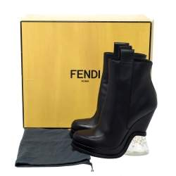 Fendi Black Leather Wedge Lucite Heel Platform Boots Size 40