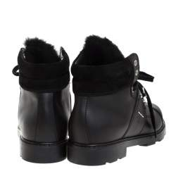 Fendi Black Leather And Fur Trim Lace Up Ankle Boots Size 39