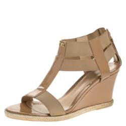 Fendi Beige Patent Leather T-Strap Espadrille Wedge Sandals Size 37.5