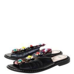 Fendi Black Leather Flowerland Slide Sandals Size 39