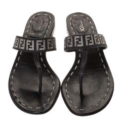 Fendi Black FF Canvas and Leather Flat Thong Sandals Size 37.5
