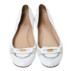 Fendi White Leather Logo Plaque Loafer Ballet Flats Size 40