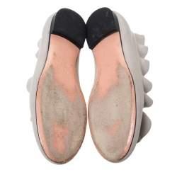 Fendi Grey Leather Ruffle Trim Ballet Flats Size 36.5