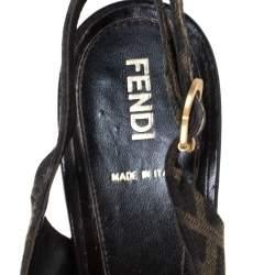 Fendi Tobacco Zucca Canvas Fendista Platform Slingback Sandals Size 39.5