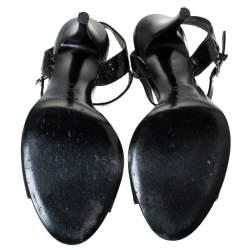 Fendi Black Patent Leather Tortoise B Buckle Ankle Strap Sandals Size 39