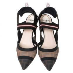 Fendi Multicolor Mesh Colibri Slingback Sandals Size 38.5