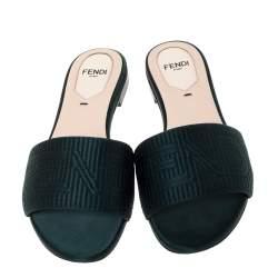 Fendi Green Satin Logo Embroidered Flat Slide Sandals Size 35
