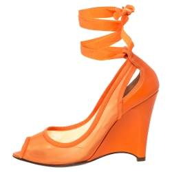 Fendi Orange Mesh And Leather Peep Toe Cut Out Wedge Ankle Warp Pumps Size 39