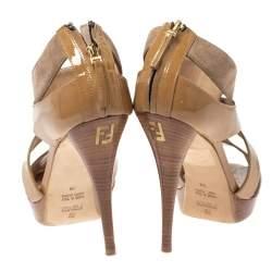 Fendi Beige Patent and Suede Criss Cross Platform Sandals Size 38