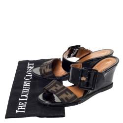 Fendi Black Patent Leather and Zucca Canvas Demi Wedge Slides Size 37