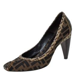 Fendi Brown Zucca Canvas Square Toe Pumps Size 38.5