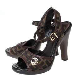 Fendi Brown Zucca Canvas And Leather Trim Open Toe Ankle Strap Sandals Size 36