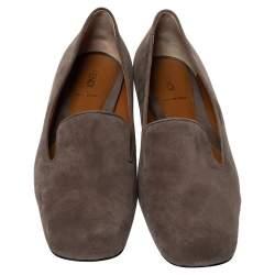 Fendi Dark Beige Suede Leather Studded Slip On Loafers Size 40